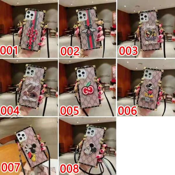 グッチ 刺繍 iphone12 pro/12 pro maxケースブランドトランク型 galaxy s21/s21 ultraカバー ストラップ付き 華奢 Gucci iphone 13 /12 proケース ファッションシュー