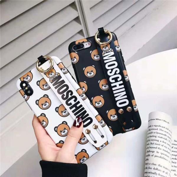 モスキーノ iphone xr/xsケース 可愛い  Moschino iphonex/8plusケース 熊 アイフォン10R/xs maxケース ハンドベルト付け 激安新品