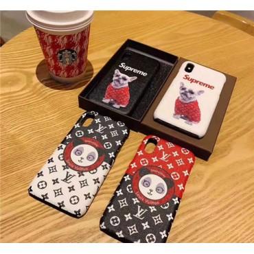 シュプリーム iphone xr/xsケース コラボ ルイヴィトン  iphonex/8plusケース 人気 アイフォン10R/xs maxケース 犬付け