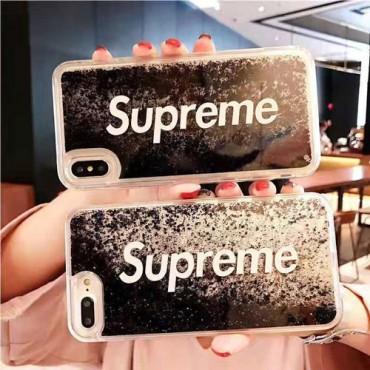 シュプリーム iphone xr/xsケース お洒落 ブランド  iphonex/8plusケース 人気 アイフォン7/xs maxケース 流砂付け キラキラ