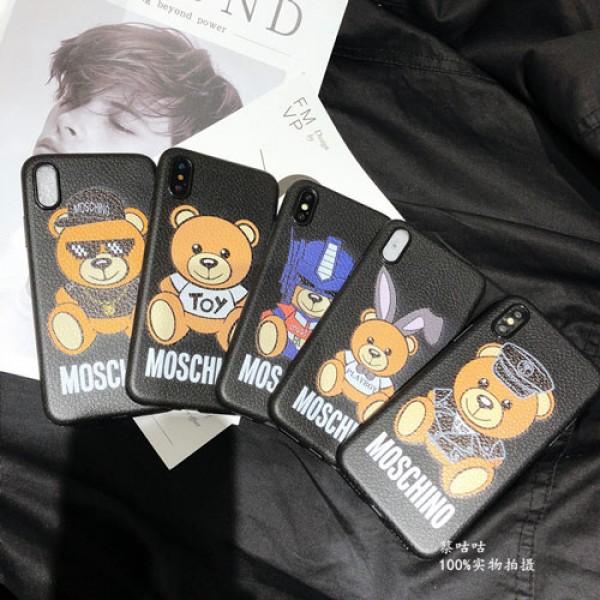 モスキーノ iphone xr/xs maxケース 熊ちゃん Moschinoアイフォンxs/xカバー  可愛い iphone 7/8plusケース 若者愛用