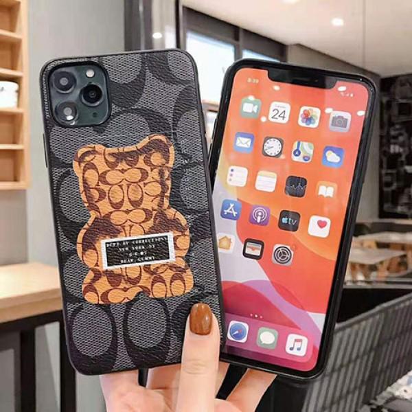 ブランドコーチiphone11/11pro/11pro maxケースジャケット型iphone xs/xr/xs maxケース熊形付き オシャレiphone x/7/8/plusケースファンション男女兼用