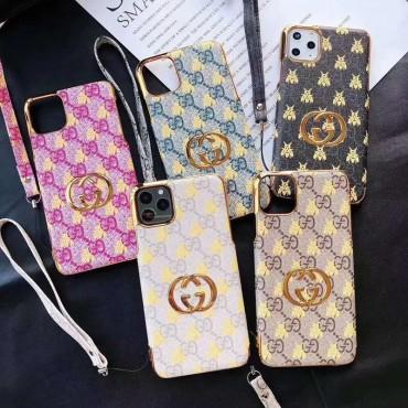 グッチiphone11/11pro maxケースブランド iphone xr/xs maxケース 経典ミツバチ付き iphone x/8/7 plusケース ファッション人気ストラップ付き