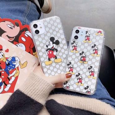 グッチ iphone11/11pro maxケース ブランド可愛い iphone xr/xs maxケースミッキー付き 透明アイフォン x/8/7 plusケースおしゃれファッション人気