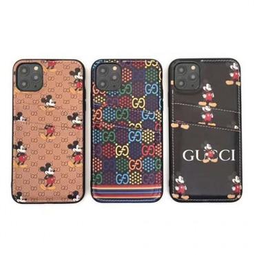 ブランドGucci disney ミッキーコラボGalaxy s20/note10/s10/s9 plusケースジャケット型 2020 iphone12ケースカード入れ