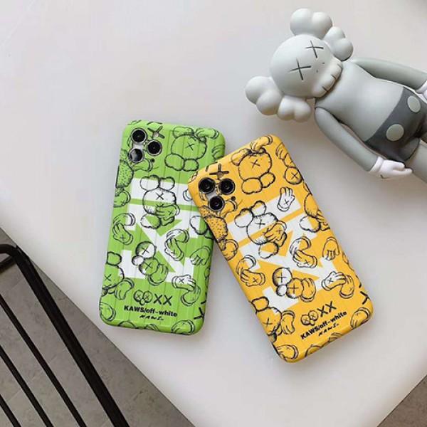 kaws&off-whiteブランド iphone12/11pro maxケース かわいいペアお揃い アイフォン12/11ケース iphone xs/x/8/7 plus/se2ケースファッション セレブ愛用 激安個性潮 iphone x/