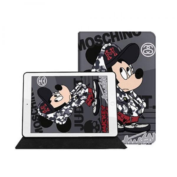 Moschino モスキーノ Disney ディズニーコラボ モノグラム ダミエ アイパッド 6/5/4/3/2ケース Ipad 8/7 世代 air4 手帳型iPad ミニ5/4/3/2/1手帳型カバー ブランドパロディ?レプリカ日本未入荷iPad Proケース 9.7インチ 2018/2017新型 iPad pro 9.7 11インチケース ブランド  2020/2018/2017  ブランドパロディ?レプリカ
