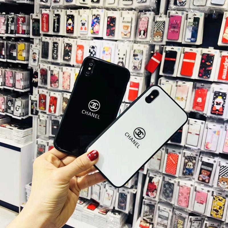 ガラス表面iphone xr/xs/xs maxケース シャネル